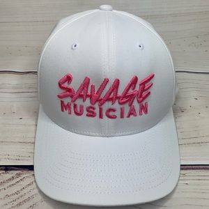 Flex Fit White Cap with Hot Pink Front Embroidery